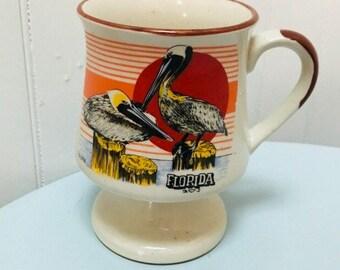 Vintage 1970s/1980s Florida Souvenir/Pelican Sunset Footed Mug