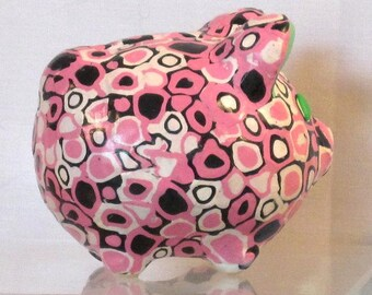 Little piggy bank pink/white/black polymer clay