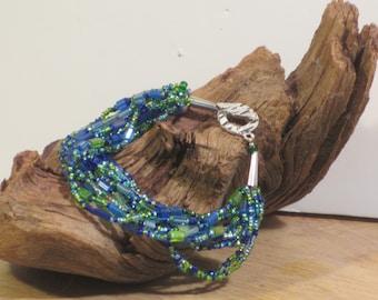 Beaded bracelet green blue
