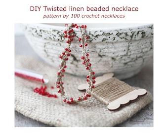 DIY Twisted linen beaded necklace, Crochet pattern, PDF tutorial, Crochet jewelry, Rustic chic, Boho, Bohemian style
