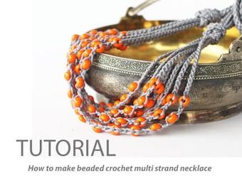 Crochet jewelry pattern PDF Tutorial How to make a beaded crochet multi strand necklace DIY Easy crochet pattern for beginners