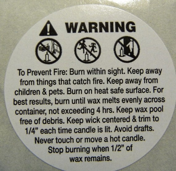 100 Count Soy Candle Wax Burning Instructions Warning Caution Etsy