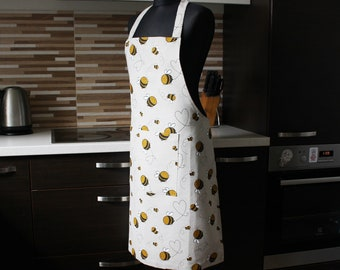 Linen Apron with Bees print, Kitchen pinafore with Pocket, Christmas Gift with Bees