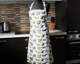 Linen Pinafore with dogs, Kitchen printed Apron with Pocket, Christmas Gift Linen Apron with Dogs, Linen Pinafore