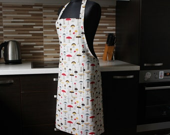 Linen Apron with mushroom, Kitchen printed Apron with Pocket, Linen Pinafore with mushrooms, Ready to Ship pinafore