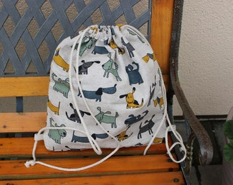 Linen Backpack With Dogs pattern, Canvas Drawstring Backpack, dogs print gym sack backpack, Christmas gift Dogs pattern bag