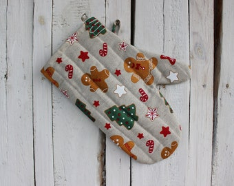 Mother/'s day gift for baker Linen Glove for him Kitchen accessories for her Easter gift for the cook Kitchen gloves with Hedgehog