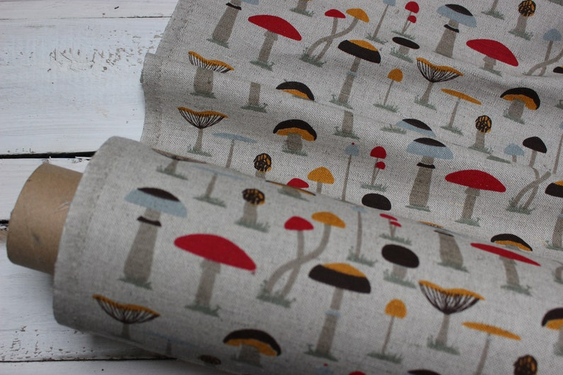 Linen fabric with mushrooms Printed Linen fabric by half image 0