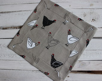Natural Linen placemat, nordic style rustic linen placemat with chicken print, summer table decor for villa or cottage