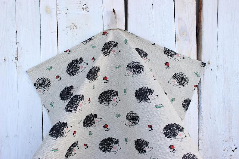 13. Linen hand towel with hedgehogs