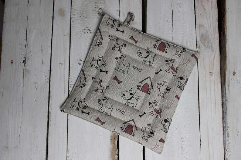 Pot Holder with Dogs Linen Pot Holder Kitchen accessories image 0