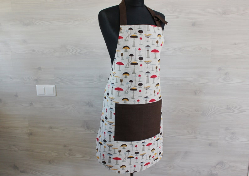 Linen Apron with mushroom Kitchen printed Apron with Pocket image 0