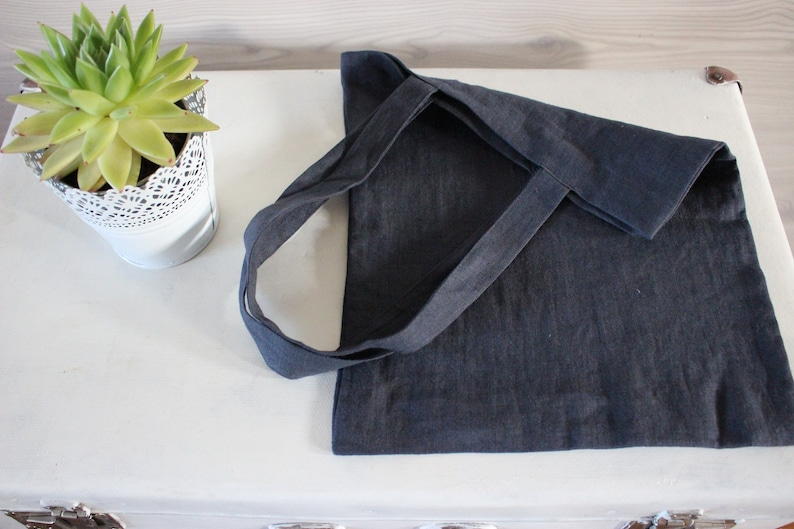 Dark gray Linen Tote Bag Canvas grey washed Linen small image 0