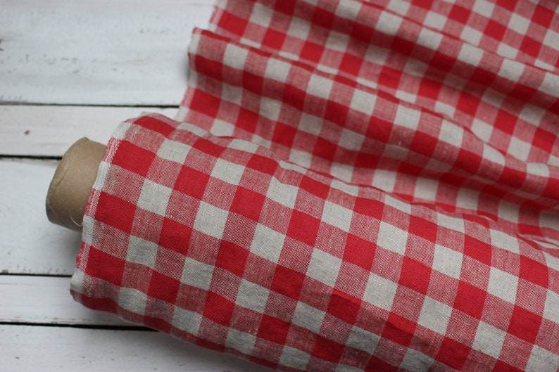 Washed natural linen fabric by half meter red and gray checks image 0