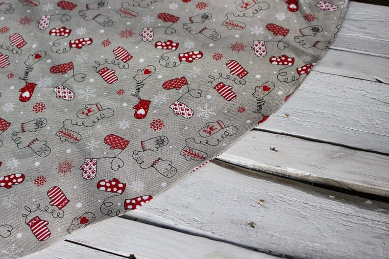 gift for Christmas oval cottage table decor Round Christmas Linen tablecloth
