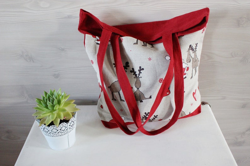 Red Linen Tote Bag with pocket on the front Christmas gifts image 0