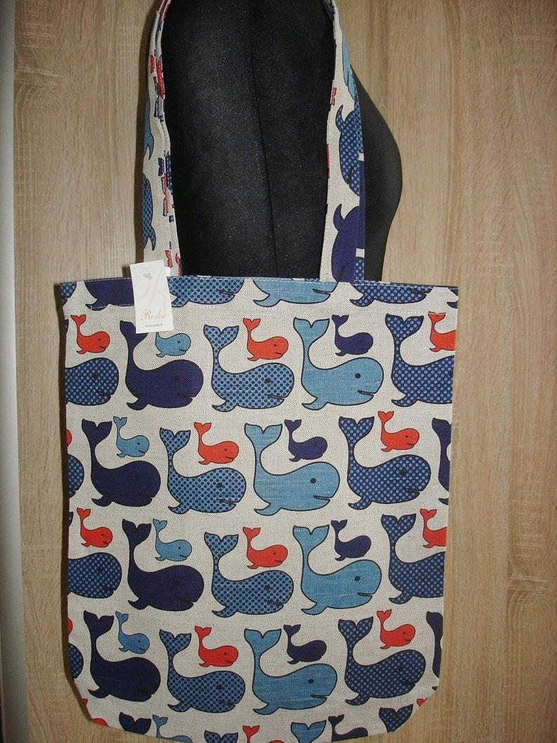 long straps shopping bag Handmade Linen  bag With Whales Canvas Tote Bag Blue Whales Pattern Tote Bag With Whales Natural Linen Bag