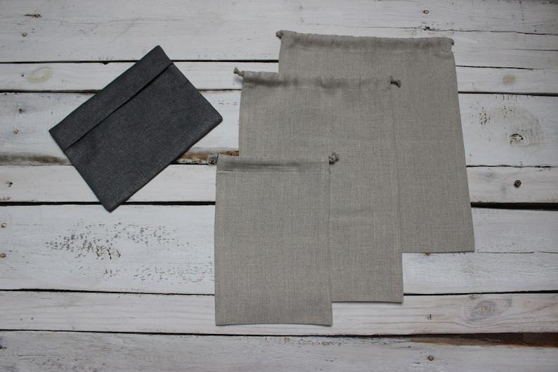 Linen Bags set Reusable Bread Keeper Natural linen zero image 0