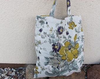 Canvas Tote Bag, Natural Linen market Bag, Printed flower fabrics shopping bag, linen market bag with flowers