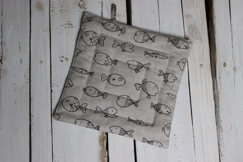 Fishes linen Kitchen Pot Holder Christmas Gift for the cook image 0