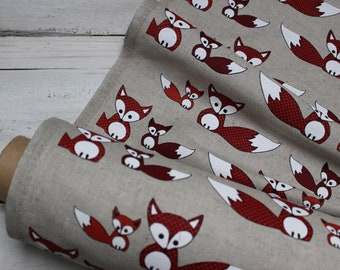Fabric with Foxes, Linen canvas by Half Meter for Eco Friendly home Textile, foxes fabric for shopping bag or aprons, fabric for fox lovers