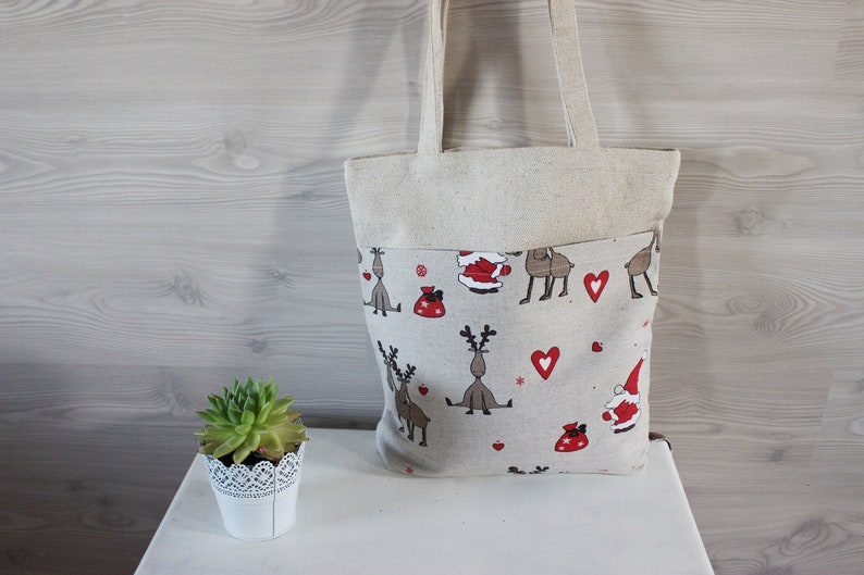 Linen Canvas Bag with pockets on the front Natural Linen tote image 0