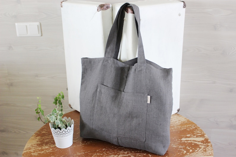 Dark gray Linen Tote Bag Canvas grey washed Linen big Market image 0