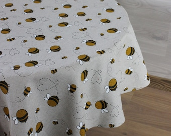 Round Linen tablecloth with bees print, oval cottage table decor gift for bee lovers