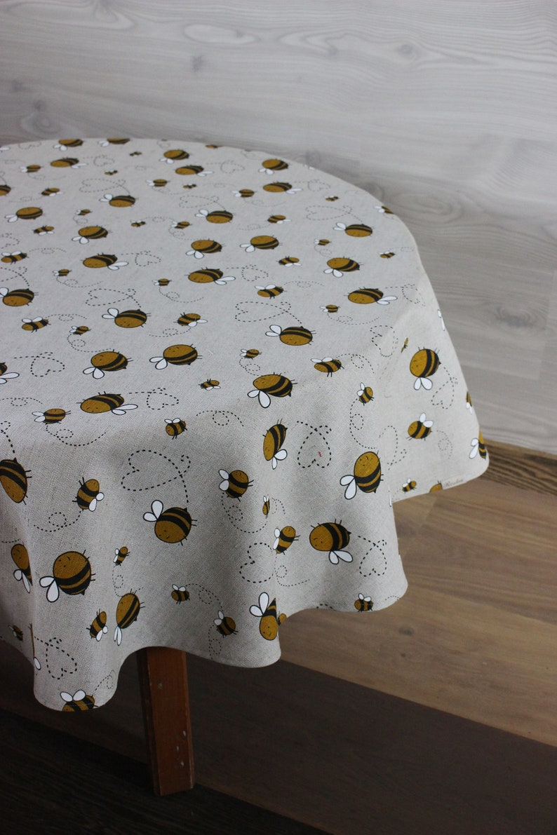 Round Linen tablecloth with bees 71 180 cm diameter image 0