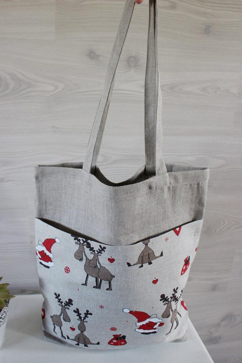 Christmas gifts bag Linen Canvas Tote Bag with pocket on the image 0