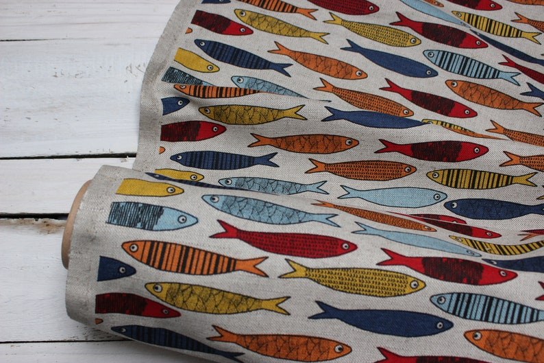 Linen fabric with fish Pattern canvas with fishes print image 0