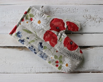 Kitchen glove with a flower of the meadow print, cute Linen Glove with printed flowers, Christmas gift for the cook or baker
