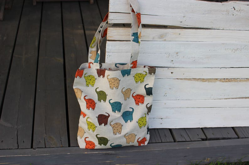 Canvas Tote Bag with Colorful Elephants print Natural Linen image 0