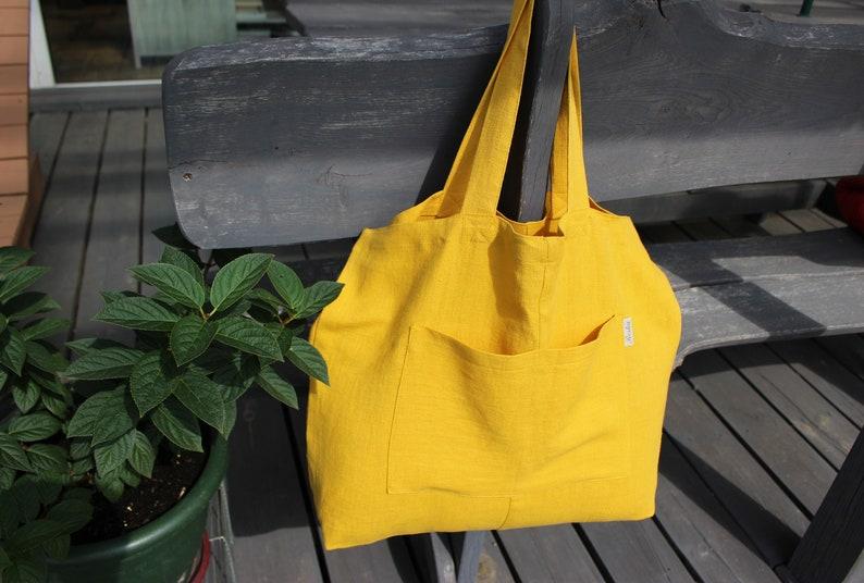 Mustard linen big Tote Bag yellow Canvas market Bag eco image 0