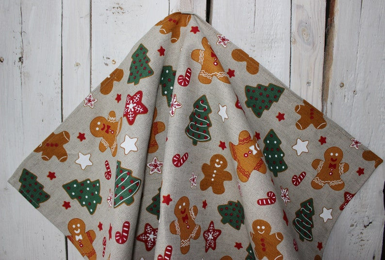 Towel with Christmas trees and gingerbread cookies Linen tea image 0