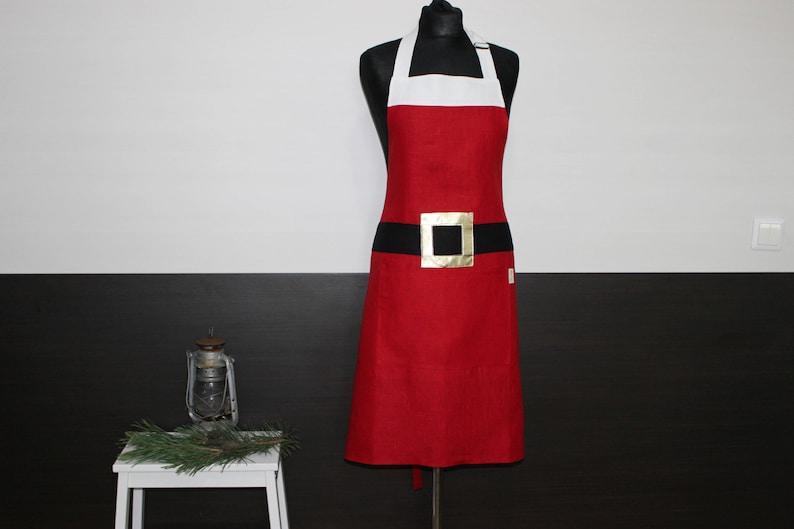 Santa Claus Linen Apron Santa's Kitchen pinafore image 0