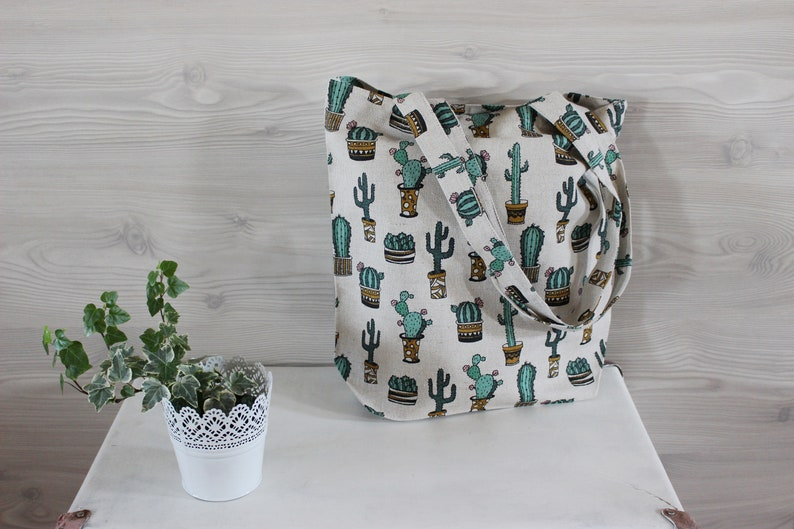 Cactus Linen Tote Bag Canvas Tote Bag Natural Linen Bag With image 0