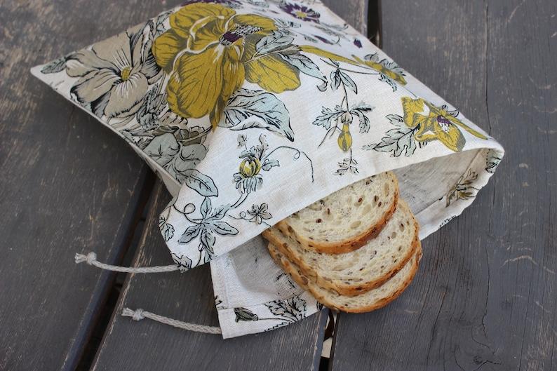 Linen Bag for Bread Reusable Bread Keeper Natural linen zero image 0