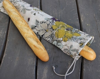 Linen Bag for Long Baguette, Reusable Bread Keeper, Natural linen zero waste bread bag