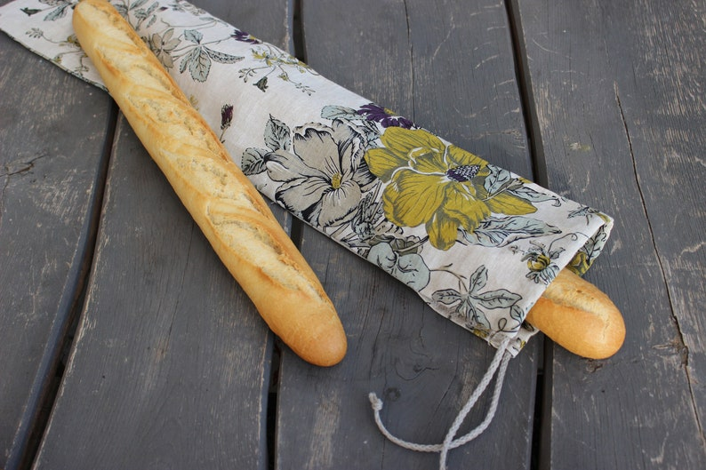 Linen Bag for Long Baguette Reusable Bread Keeper Natural image 0