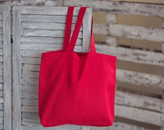 Red linen bag, canvas tote bag, red color linen big bag, market bag for women, red bag for Christmas gifts, shopping linen bag is red