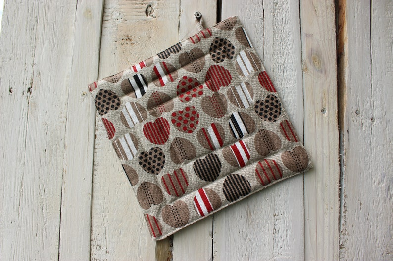 Christmas gift for the cook Kitchen Pot Holder Pot Holder With Colorful Hearts Linen Pot Holder