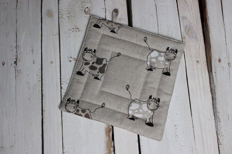 Kitchen Pot Holder with cows Christmas gift for the cook or image 0