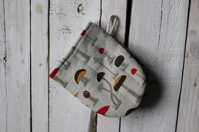 Mushrooms print Kitchen Mini Oven Glove linen Oven Mini Mitt image 0