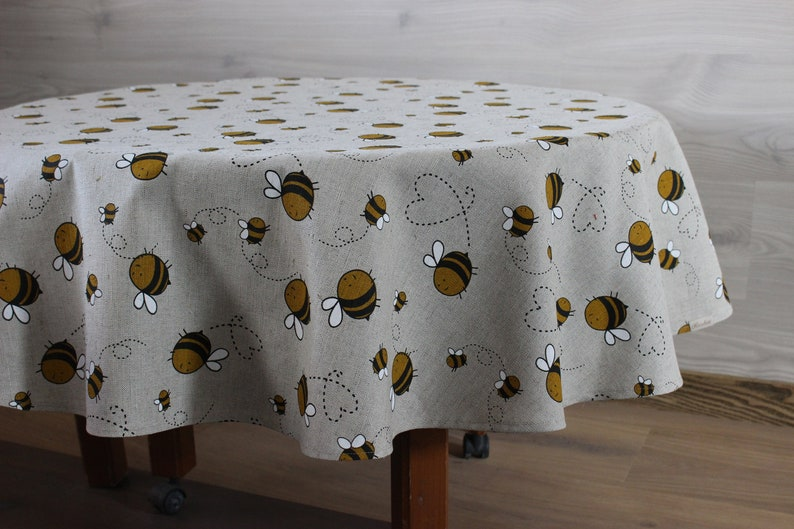 Round tablecloth with bees Linen circle Tablecloth custom image 0