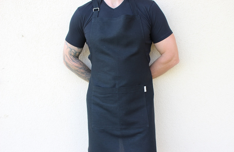 Black Linen pinafore for men Kitchen Apron with Pockets image 0