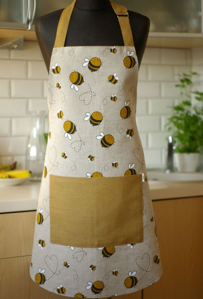 Linen Apron with Bees Kitchen printed Apron with Pocket image 0