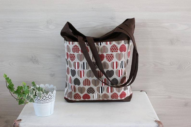 Linen Tote Bag Linen Canvas Bag with pocket Linen beach Bag image 0