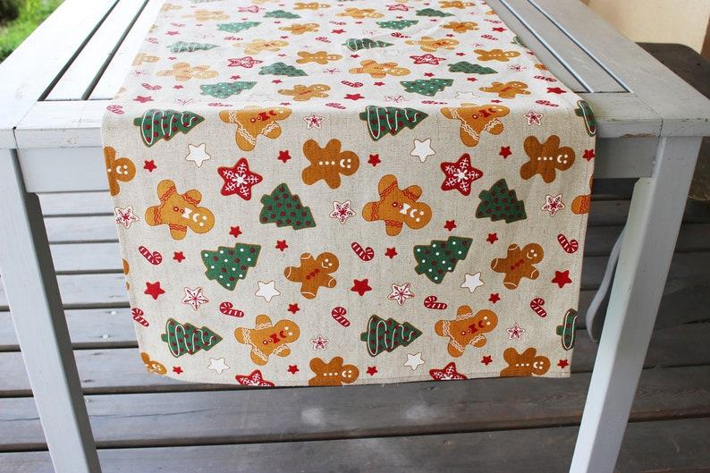 Christmas Linen table runner Long linen runner with Christmas image 0