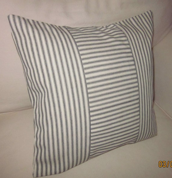 Black Ticking Pillow Cover Decorative Pillow Various Sizes Etsy